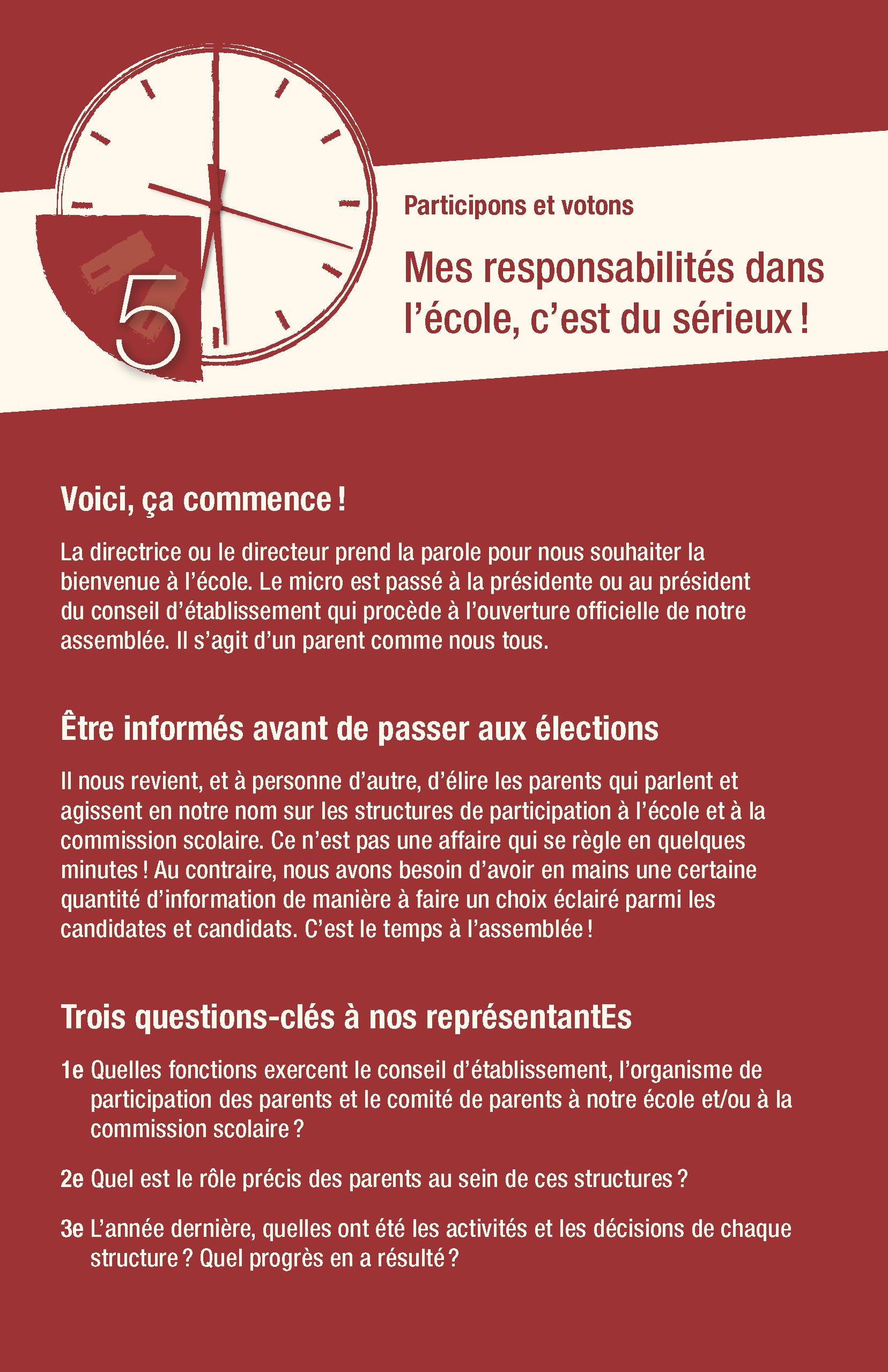 5<sup>e</sup> conseil : Mes responsabilités dans l'école, c'est du sérieux !